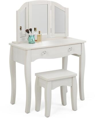 "Lindsay Collection 28429 35"" Vanity with Stool  Tri-view Mirror and 1 Large Drawer with Crystal Pull Knob in Stone White"