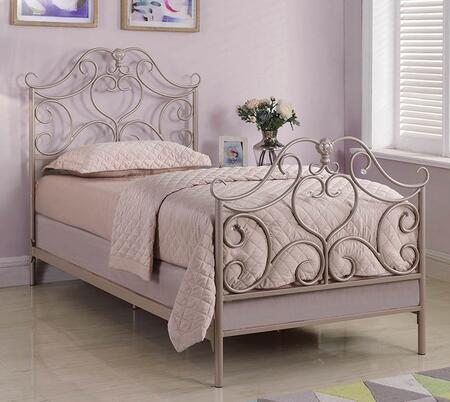 Becca Collection 300971T Twin Size Bed with Decorative Acrylic Baubles and Steel Metal Construction in Rose