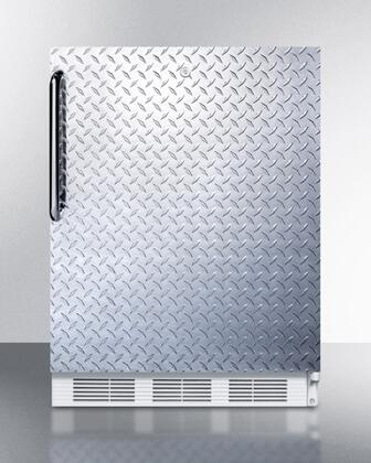 CT66LBIDPLADA 24 inch  Built In Undercounter Refrigerator Freezer with Cycle Frost  Diamond Plate Door  Tower Bar Handle  and White Cabinet  in Diamond