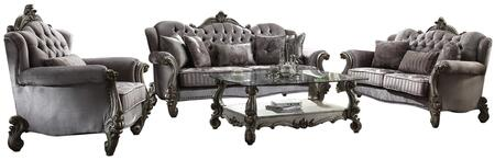 Versailles Collection 568404SET 4 PC Living Room Set with Sofa  Loveseat  Chair and Coffee Table in Antique Platinum