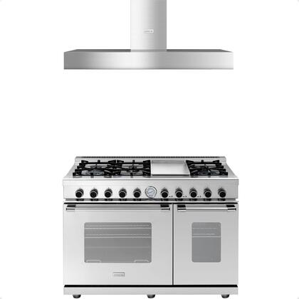 2-Piece Stainless Steel Kitchen Package with RN482GCSS 48 inch  Freestanding Gas Range and HN481BSS 48 inch  Wall Mount Hood