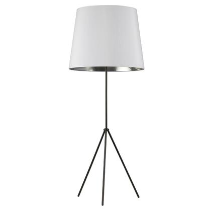 OD4L-F-691-MB 1 Light 3 Leg Oversize Drum Floor Lamp With White On Silver Shade  Matte Black