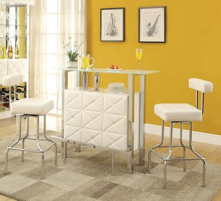 Sheila 71585T2C 3 PC Bar Table Set with Bar Table + 2 Chairs in White PU and Chrome