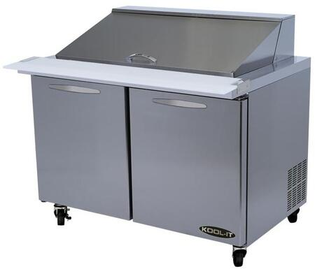 KSTM482 48 inch  Sandwich Prep Tables Mega Tops with 12.7 cu. ft. Capacity  2 Doors  2 Shelves  18 Pans  3/8 HP  in Stainless