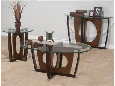 524-3 Ellipse Oval Glass Top End Table with Concentric Base in a Cherry