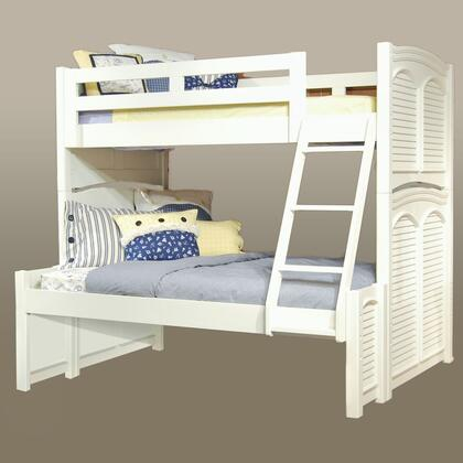 Cottage Traditions 6510-TFBNKT Twin Over Full Bunk Bed with Built in Ladder  Molding Details and Arched Louvered Inserts in Eggshell
