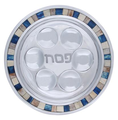 PT-519 13 inch  x 13 inch  Round Handmade Passover Plate with Center Inscription  Aluminum Frame and Decorative Color Inlay in Subtle