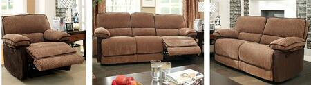 Hazlet Collection CM6581-SLR 3-Piece Living Room Set with Motion Sofa  Motion Loveseat and Recliner in Mocha and Dark