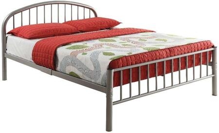 Cailyn Collection 30460TSI Twin Size Bunk Bed with Slat System Included  Curved Headboard  Low Profile Rectangular Footboard and Metal Tube Material in Silver