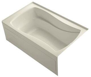 K-1242-RAW-47 60x36x20 Alcove Apron-Front Acrylic Soaking Bath Tub With Bask Heated Surface  Tile Flange And Right