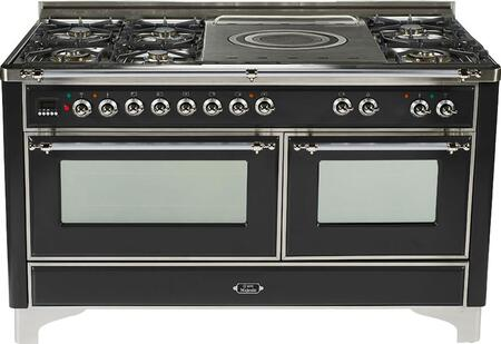 "UM-150-SDMP-N-X 60"""" Dual Fuel Range with Chrome Trim  French Top  6 Semi-Sealed Burners  Multi-Function European Convection Oven  Electric Oven  Rotisserie"" 811981"