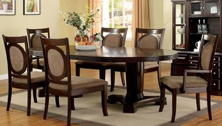 Evelyn Collection CM3418T4SC2AC 7-Piece Dining Room Set with Oval Table  4 Side Chairs and 2 Arm Chairs in Walnut