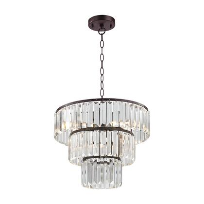Antoinette Collection D3016 15 inch  Ceiling Pendant with 4 Light Bulbs  E12 Bulb Type  UL Listed  Crystal Shade and Metal Construction in Bronze and Clear
