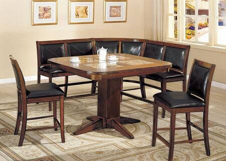 Living Stone II Collection CM3568T2CB2BSCR 6-Piece Dining Room Set with Square Table  2 Bar Stools  2 Two Seater Bar Stools and 1 Two Seater Corner Bar Stool