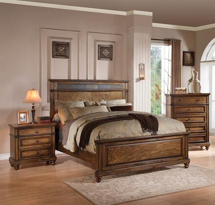 Arielle Collection 24470Q3SET 3 PC Bedroom Set with Queen Size Bed  Chest and Nightstand in Oak