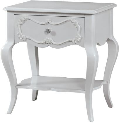 Edalene Collection 30510 24 inch  Nightstand with 1 Drawer  Bottom Shelf  Rose Inlay Detail  Nickel Rose Metal Knob  Cabriole Legs and Pine Wood Construction in