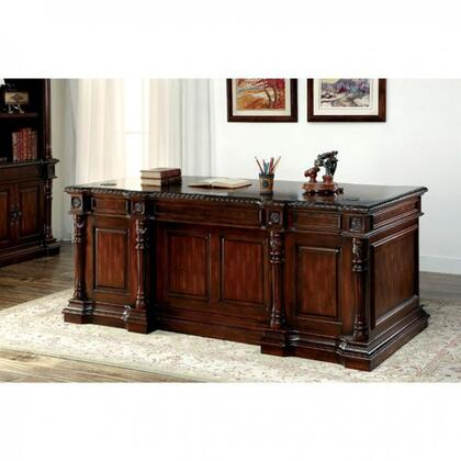 Roosevelt CM-DK6252D-SET Office Desk with Traditional Style  Ornate Design Features  Multiple Drawers  Solid Wood  Wood Veneer and Others in