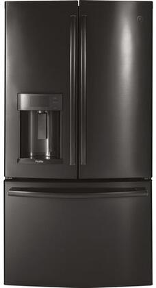 GE Profile PYE22KBLTS 36 Inch Counter Depth French Door Refrigerator with 22.2 cu. ft. Total Capacity, in Black Stainless
