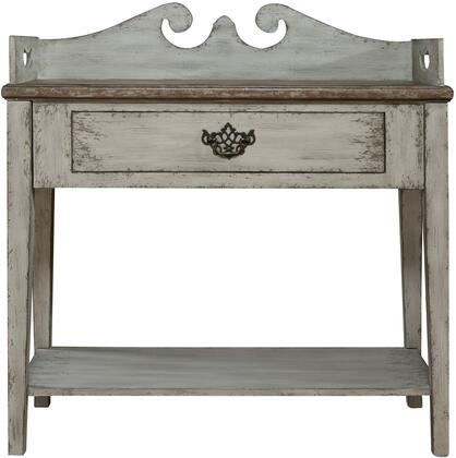 Sophia DS-P050057 Accent Table with One Drawer  One Lower Stationary Display Shelf and Square Tapered Legs in Weathered