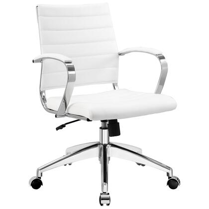 Jive Collection EEI-273-WHI Office Chair with 5-Caster Dual Wheel Base  Padded Arms  Chrome-Plated Aluminum Frame  Tilt Lock Tension Control  Adjustable Height