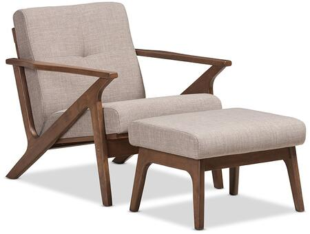 Baxton Studio Bianca BIANCA-LIGHT GREY/WALNUT BROWN-2PC-SET Lounge Chair and Ottoman Set in