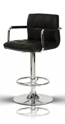 VGCBT1177-BLK Modrest 19 Barstool with Chrome Plated Adjustable Pneumatic Base  Pneumatic Lift and Eco-Leather Upholstery in