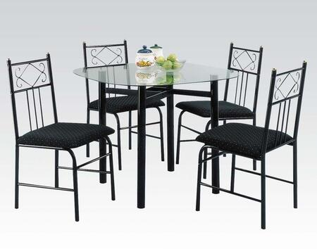 Penelope Collection 02520BK 5 PC Dining Room Set with 4 Side Chairs  Glass Top Table  Fabric Chair Seat and Metal Frame in Black