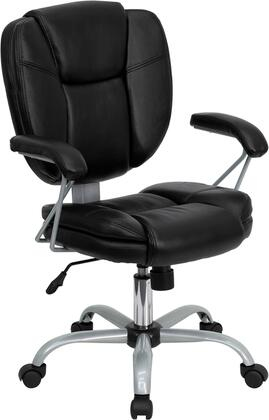 GO-930-BK-GG Mid-Back Black Leather Task and Computer