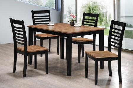 5004-48 Key West 5 PC Dining Set Including One Table and 4 Chairs with Distressed Detailing and Apron in Light Oak and