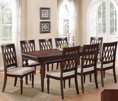 Sophia SOPTAB8CHR Dining Set Including Dining Table and 8 Chairs with Carved Detailing and Turned