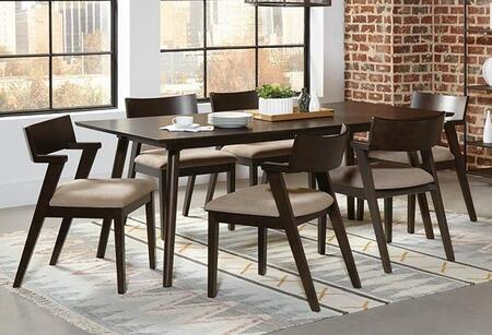 Jarmen Collection 122521-S7-522 7-Piece Dining Room Set with Rectangular Dining Table and 6 Side Chairs in Medium Brown