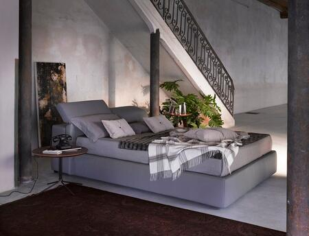 18087-QD709 Queen Size Giselle Storage Bed with Hydraulic Lift Component and Individualy Adjustable Headrests in Grey