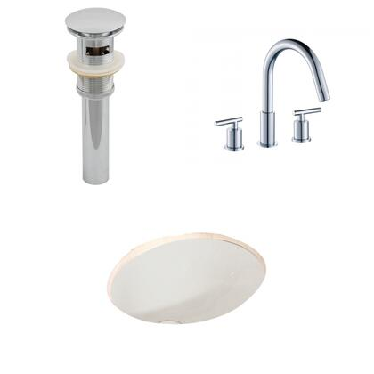 AI-13254 19.75-in. Width x 15.75-in. Diameter CUPC Oval Undermount Sink Set In Biscuit With 8-in. o.c. CUPC Faucet And