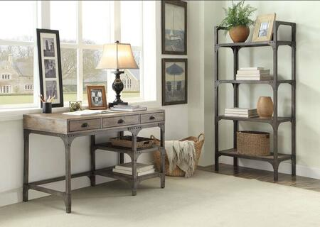 Gorden Collection 92325DB 2 PC Office Furniture with Desk + Bookshelf in Weathered Oak and Antique Silver