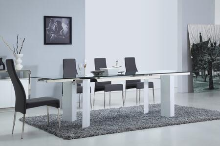 Torino Collection CBD2048WHTVSET 5 PC Dining Room Set with Extendable Clear Tempered Glass Top Dining Table and 4 Grey Eco-Leather Upholstered Dining