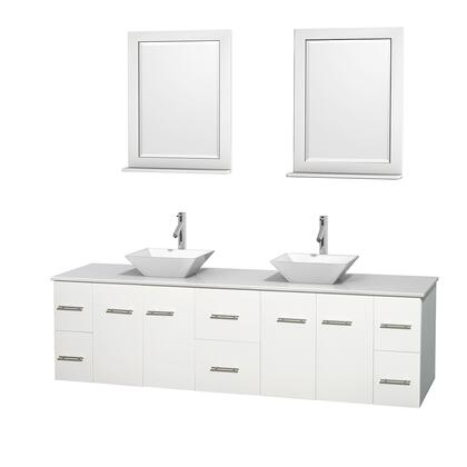 Wcvw00980dwhwsd2wm24 80 In. Double Bathroom Vanity In White  White Man-made Stone Countertop  Pyra White Porcelain Sinks  And 24 In.