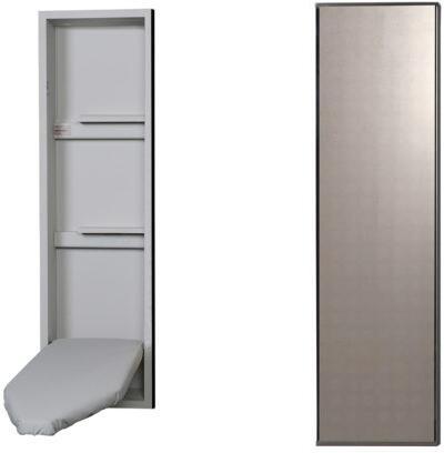 "NE42MDU 15"" Ironing Center with  Storage Shelves  Garment Bar  Full Length Piano Hinge and Hot Iron Storage: Mirror"