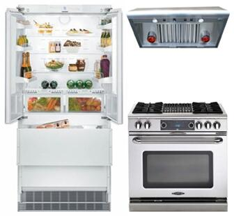 3-Piece Kitchen Package with HCB2062 36 inch  French Door Refrigerator  COB362B2N 36 inch  Freestanding Gas Range  and PSVH36 36 inch  Under Cabinet Ducted Hood in Stainless