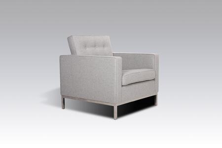 Draper FB2807LGREY Lounge Chair with Button Tufting  Stainless Steel Legs and Fabric Upholstery in Light