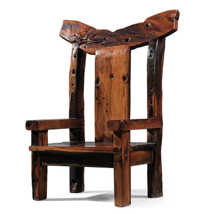DS-A03 Imperator Arm Chair with Y Shaped Back and Low Profile in Brown Distressed