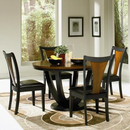 Boyer 102091seta 5 Pc Dining Room Set With Table + 4 Side Chairs In Black And Cherry