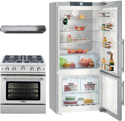 3-Piece Kitchen Package with CS1400RIM 36 inch  Bottom Freezer Refrigerator  MCR304N 30 inch  Freestanding Gas Range  and LEVT30SS400B 30 inch  Under Cabinet Convertible Hood