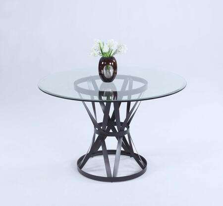 PANDORA-DT PANDORA DINING Round Clear Glass Table Top with Bevel Edge and Matt Black Metal