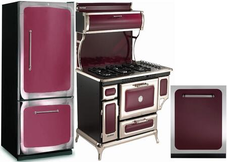 3-Piece Cranberry Kitchen Package with 301500RCRN 30 inch  Bottom Freezer Refrigerator  720000PCRN 48 inch  Freestanding Gas Range  and HCDWI1CRN 24 inch  Fully Integrated
