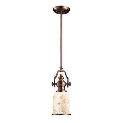 66442-1 Chadwick 1-Light Pendant in Antique Copper and Cappa