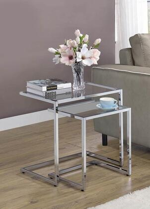 930117 2-Piece Nesting Table with Glass Table Tops and Metal Frame Construction in