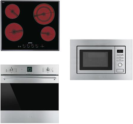 3-Piece Stainless Steel Kitchen Package with S2641TCU 24 inch  Smooth Cooktop  SF399XU 24 inch  Single Wall Oven  and MI20XU 24 inch  Built In