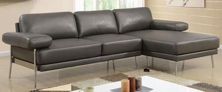 Eilidh CM6422GY-SECT Sectional Sofa with Stitched Details  Pillow Top Arms and Breathable Leatherette Upholstery in