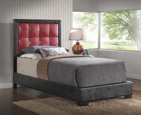 G2500 Collection G2589-TB-UP Twin Size Bed with Low Profile  Tufted Headboard and Faux Leather Upholstery in Red
