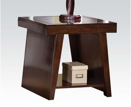 80312 Jelani End Table with Glass Insert on Top in Brown Cherry